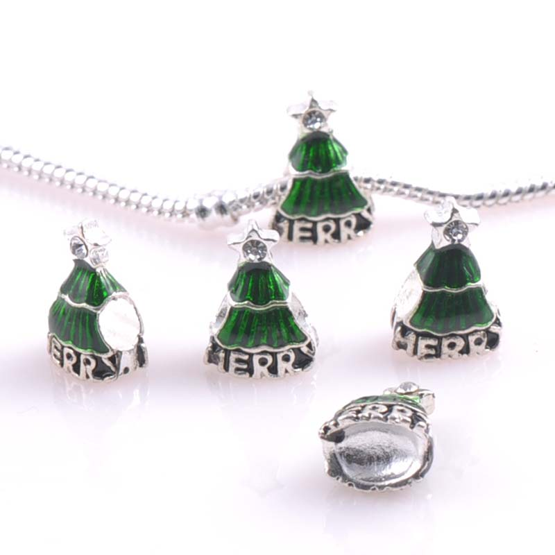 10 pcs 16x10mm Silver christmas trees Spacers Beads Fit Pandora Charms Bracelets Jewelry Handmade DIY DK-055