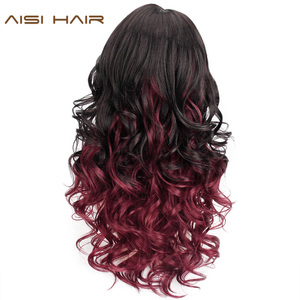 Image 2 - Long Wavy Red Black Hair Mix Color Women Wigs Heat Resistant Synthetic wigs with bangs for Women African American Natural Hair