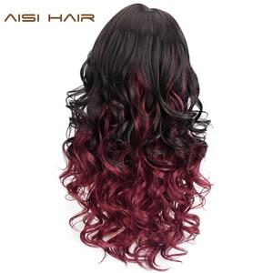 Image 2 - Peruca de cabelo sintético longo, ondulado vermelho, preto, cores mistas, resistente ao calor, com franja, para mulheres, africano, natural cabelo