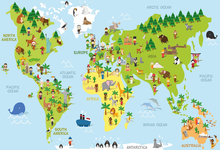 Laeacco Cartoon Animal World Map Portrait Scene Photography Backgrounds Customized Photographic Backdrops For Photo Studio