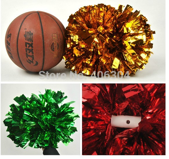 130g fadeless Cheering metallic pompom with baton handle in the middle pom pom Cheerleading products ballroom dance costume