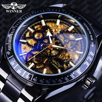 Forsining relógios mecânicos masculinos com vento automático preto ouro esqueleto relógio pulseira para homem à prova dwaterproof água relogio masculino|Relógios mecânicos|   -