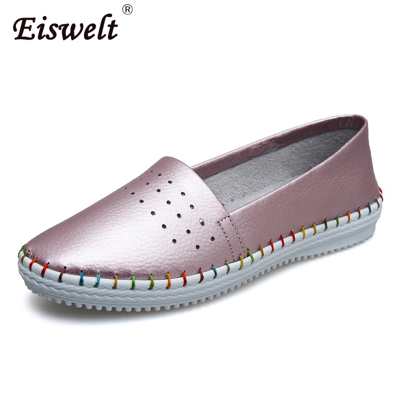 EISWELT Summer Autumn Round Toe Slip-on Lazy Shoes Women Fashion Soft Leather Anti-skid Casual Shoes Women Flats Loafers#ZQS028 new shallow slip on women loafers flats round toe fishermen shoes female good leather lazy flat women casual shoes zapatos mujer
