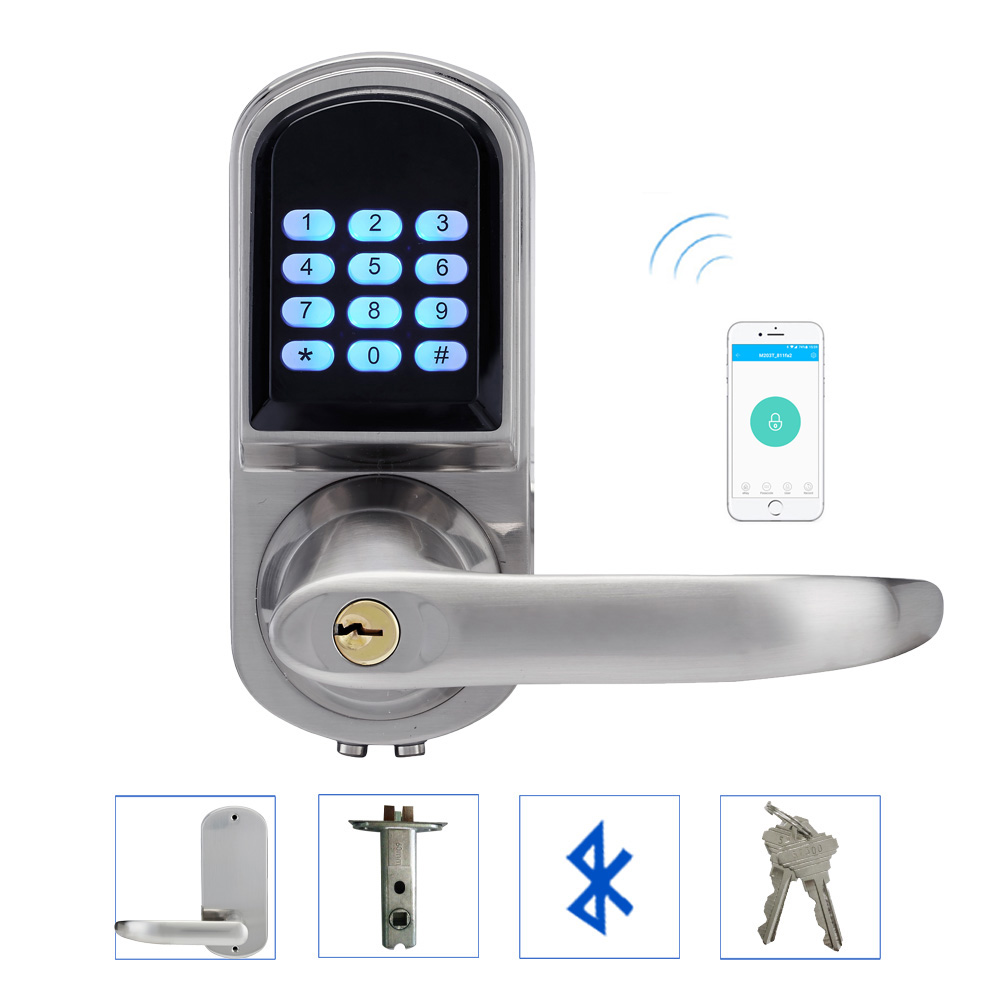 L&S Electronic Door Lock Code Keypad Password Bluetooth Key Stainless Steel Single Latch Zinc Alloy Silver SL16-071AP dl1115 electronic lock numeric keypad code rf card mechanical key zinc alloy rust