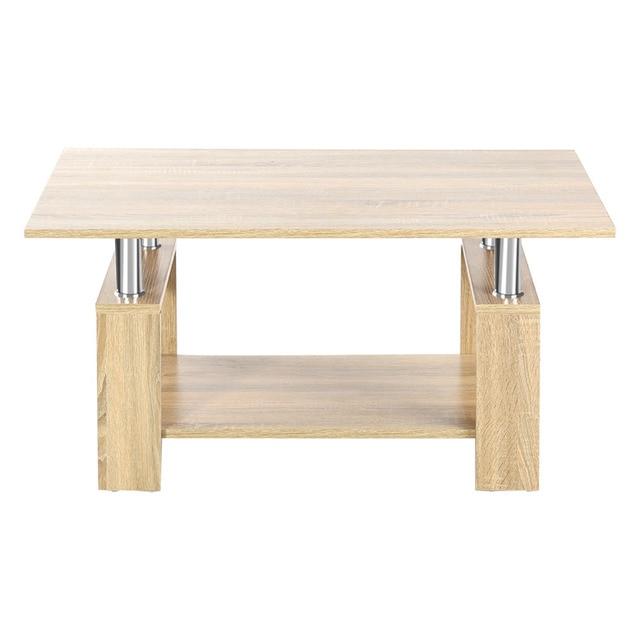 Modern Simple Double Layer Coffee Tea Table With Sturdy Surface Shelf Wood  Living Room Sofa Home