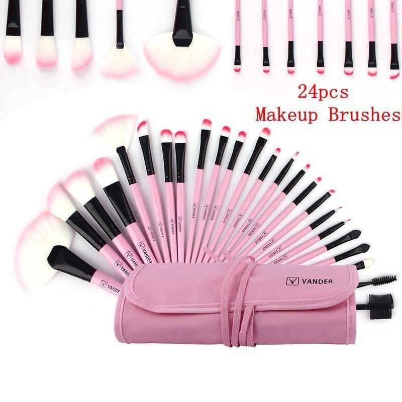 Vander Professional Makeup Cosmetic 24pcs Cosmetics MULTIPURPOSE Eyeshadow Brushes Set Powder Foundation Brush Pincel Maquiagem vander 8pcs professional rose pink