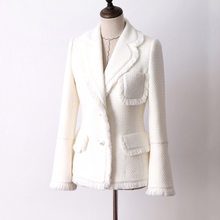 White tweed jacket autumn and winter women's jacket new woolen trumpet sleeve la
