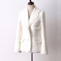 White tweed jacket autumn and winter women's jacket new woolen trumpet sleeve ladies coat jacket