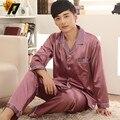Мужская зимняя с длинными рукавами пижамы множеств шелковые пижамы Loungewear пижамы свободного покроя пижама костюм л-3xl