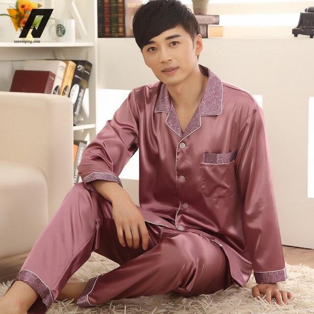 Mens Winter Long Sleeves Pajama Sets Silk Pajamas Loungewear Pajama Casual Pyjamas Suit L-3XL