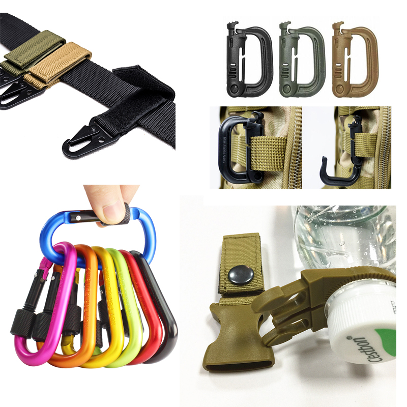 Military Carabiner Nylon   Belt   Hook Tactical Backpack Outdoor Survival Hunting Climbing D-Ring Key Water Bottle Holder Accessory
