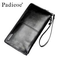 Padieoe الرجال براثن محفظة أعلى العلامة التجارية الذكور حقائب الموضة حقيقية محفظة جلدية طويلة الفاخرة سستة حامل بطاقة محفظة النقود