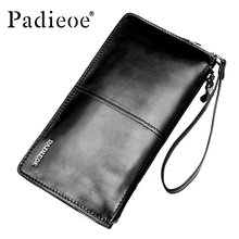 цена на Padieoe Men's Clutches Wallet Top Brand Male HandBags Fashion Genuine Leather Long Wallet Luxury Zipper Card Holder Coins Purse