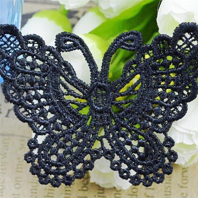 2 yards imixlot black white color butterfly embroidered lace edge trim ribbon diy sewing craft home - Color Butterfly 2