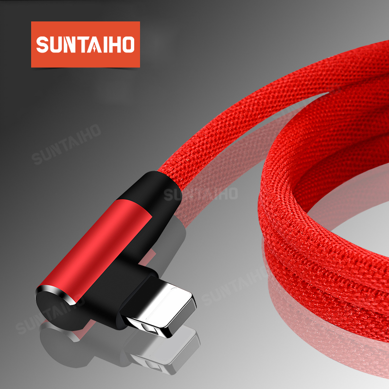 Suntaiho 90 Degree Reversible USB Cable For iPhone XR XS MAX 7 8 6 5 2.4A Fast Charging