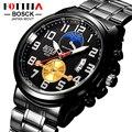 Moda marca bosck fotina hombres reloj de cuarzo de acero inoxidable negro reloj del deporte del cuarzo fecha reloj de los hombres reloj masculino del relogio masculino