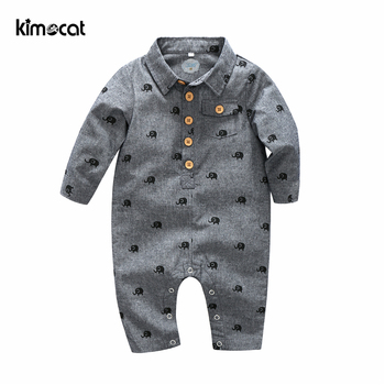 Kimocat Baby Boy Clothes Spring Autumn Boys Handsome Clothing Rompers Childrens Long Sleeve Newborn Kids Jumpsuits Cotton baby boys rompers clothes spring autumn kids long sleeved cartoon tiger cute bear style jumpsuits for 3 12 month