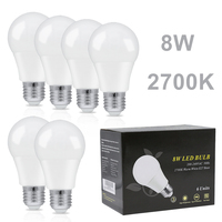 6PCS 8W LED Bubble Ball Bulb A60 E27 2700K LED Bombillas Ampoule Indoor Lighting Warm White Kitchen Bedroom Foyer Home Decor