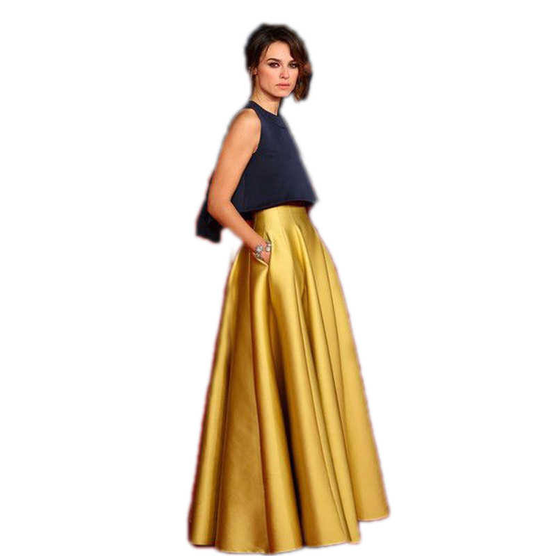 Haute qualité jupe en or une ligne longueur de plancher longue jupe avec poche mode Satin jupes femmes sur mesure Saia Longa