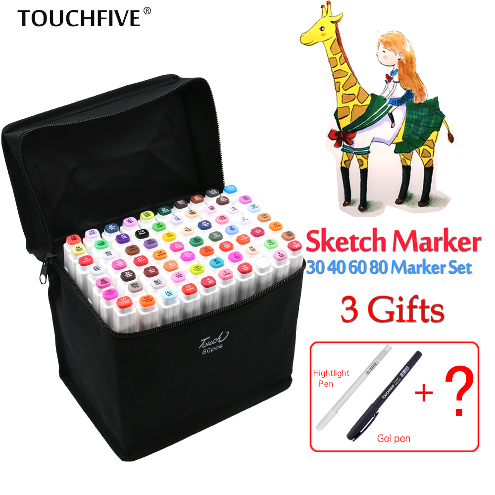 цены  Touchfive 80Colors Art Marker Set Oily Alcoholic Dual Headed Artist Sketch Copic Markers Pen For Animation Manga Design