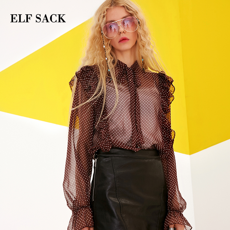 ELFSACK Summer Vintage Ruffle Trim Polka Dot Women Blouses Ruffles Ladies Sexy Tie Chiffon Blouses Shirts Female Top Clothing