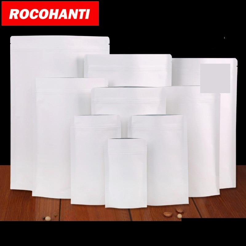 100X 最高クラフト紙ポーチ食品包装用の窓とジッパー  グループ上の ホーム&ガーデン からの 保存袋 の中 1
