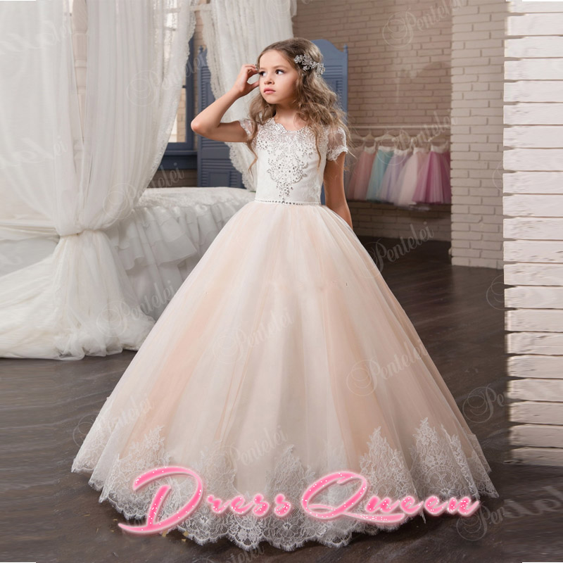2017 New Pink Flower Girls Dresses Ball Gown Lace Appliques Short Sleeve Little Girls Pageant Gowns Back Button Vestidos Custom 4pcs new for ball uff bes m18mg noc80b s04g