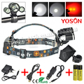 Wholesales XML T6 +2R5 LED 3 Modes Rechargeable lantern Headlamp Head Lamp Headlight +18650 Batteries + Car Charger +USB