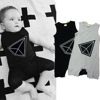 2016 New Baby Romper 0-24M Newborn Infant Kids Clothing Summer Sleeveless Baby Boys Girls Outfit One Pieces 2017 summer newborn infant baby girls clothing set crown pattern romper bodysuit printed pants outfit 2pcs