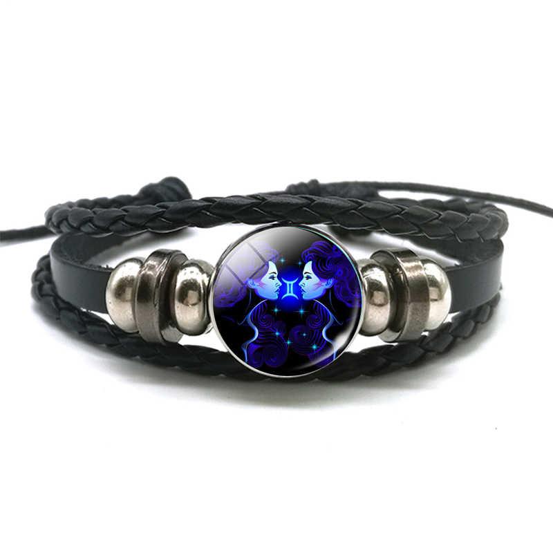 DropShiping Gemini cáncer Leo Virgo Libra Escorpio 12 constelación negro punk cuero pulsera del Zodíaco para hombres y mujeres