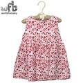 Venta al por menor 2-6 años vestido sin mangas del o-cuello de impresión Floral linda manera de los niños de verano