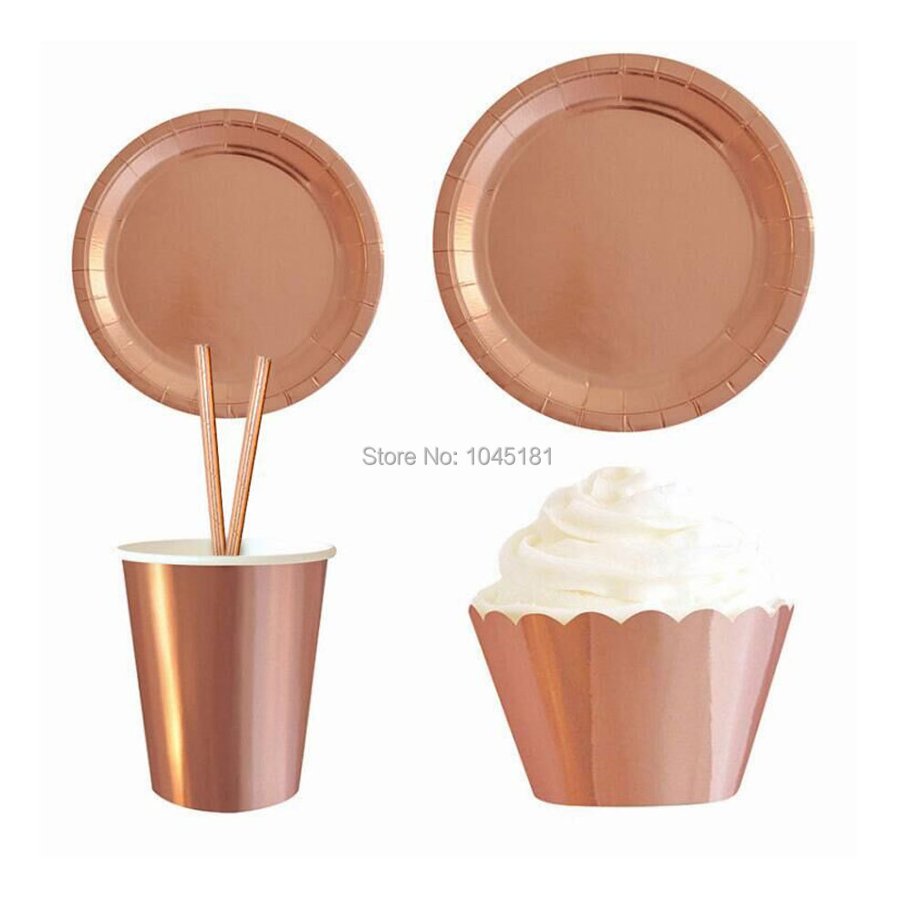ipalmay Foil Gold\u0026Rose Gold Solid Paper Plates Paper Cups Disposable Party Straws Cake Wrapper for Wedding Bachelorette Party -in Disposable Party Tableware ...  sc 1 st  AliExpress.com & ipalmay Foil Gold\u0026Rose Gold Solid Paper Plates Paper Cups Disposable ...