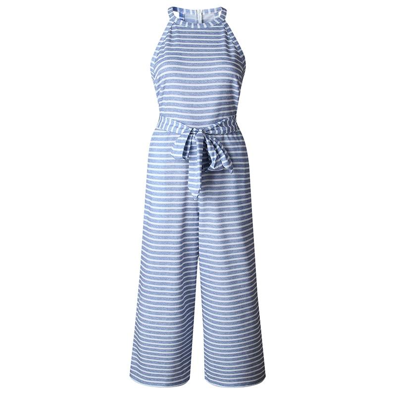 Striped tryckt hög midja jumpsuits och rompers Kvinnor ärmlös - Damkläder - Foto 4