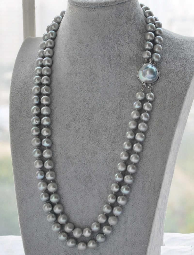 Free shipping >>>>>double strands 9-10mm natural Australian south sea gray pearl necklaceFree shipping >>>>>double strands 9-10mm natural Australian south sea gray pearl necklace