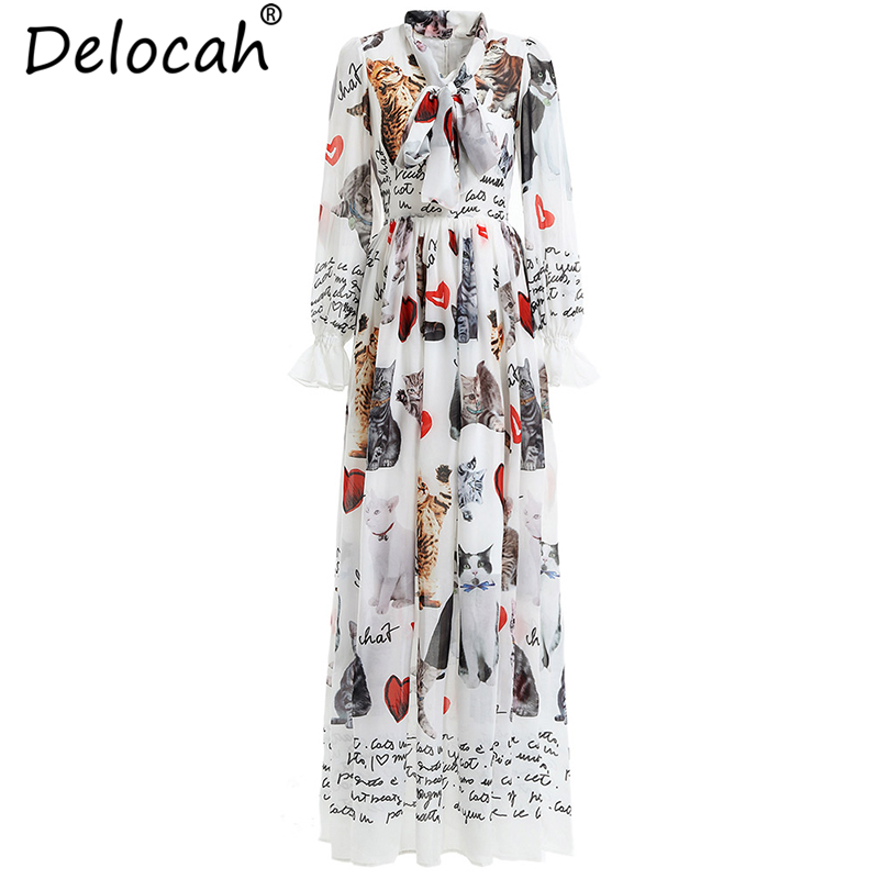 Delocah New Women Spring Dress Runway Fashion Long Sleeve Bow Tie Mesh Overlay Animal Printed Elegant Vintage Party Long Dresses