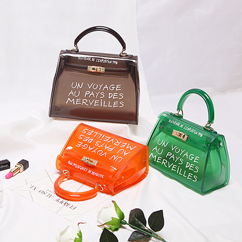 ffd2e33a4500 Clear Transparent PVC Shoulder Bags Women Candy Color Women Jelly Bags Purse  Solid Color Handbags Large