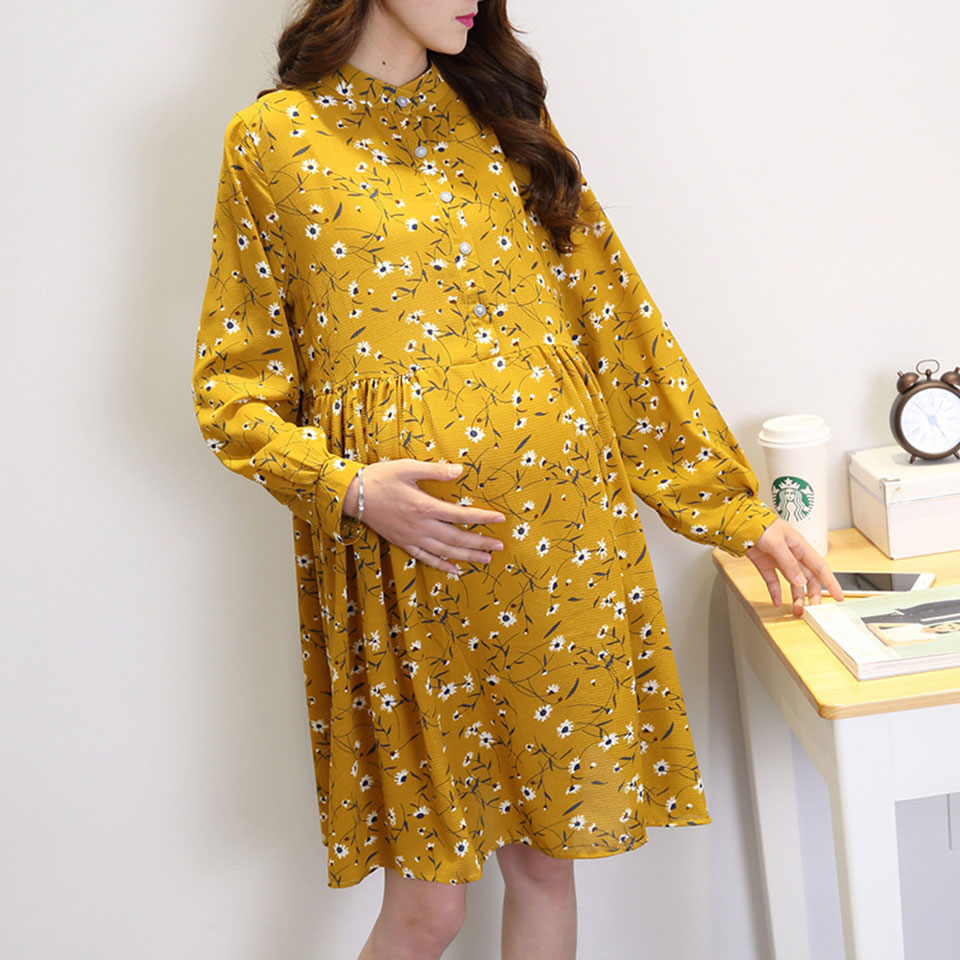 Pregnant Women Chiffon Dress Printed Maternity Clothes Fashion Mom Outside Wear Skirt Long Sleeves Loose Large Size For Women