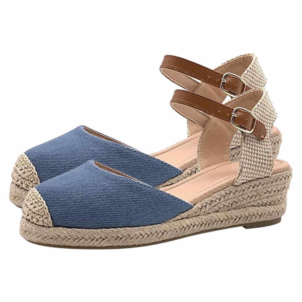 Kadın sarılmış ayak renk eşleştirme kama topuk sandalet toka kayış kama ayakkabı seksi bayan karışık renkler toka kayış ayakkabı # YL5