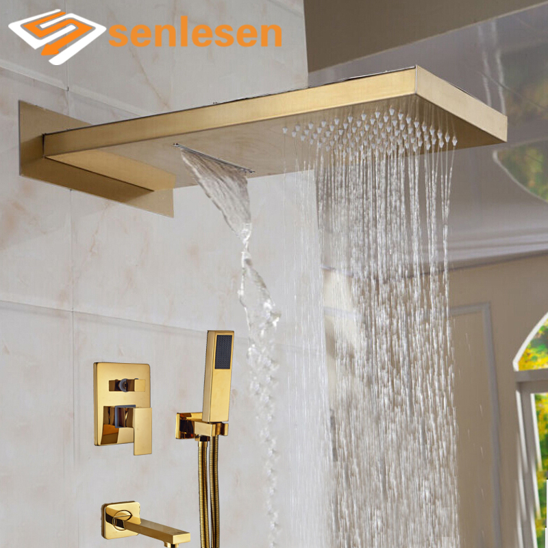 Wholesale And Retail Luxury Golden Shower Head 3 Ways Valve Mixer Rainfall & Waterfall Shower Faucet Tub Spout W/ Hand Shower бумажник golden head портмоне 3331501