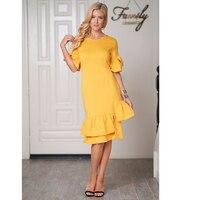 Adogirl 2018 Short Sleeves Fishtail Dress Summer Women Elegant Party Dresses Fashion Yellow Bodycon Dress Vestido