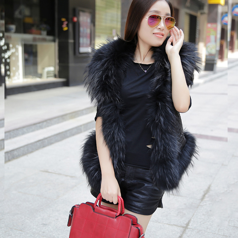 FREE SHIPPING 2016 New Women Spring Black Leather Vest Genuine Sheepskin Racoon Fur Collar Fashion Short Slim Fit Women Coat in Leather Jackets from Women 39 s Clothing
