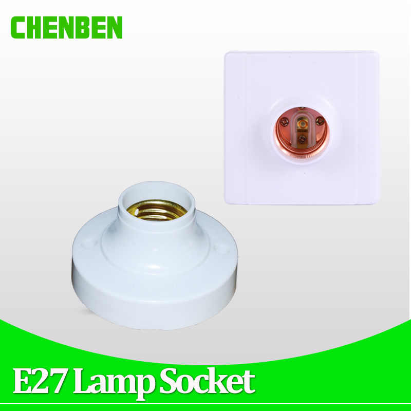 E27 Lamp Holder Square Round E27 Light Bulb Base Socket Bases White lamp Holder For LED Bulbs Installation