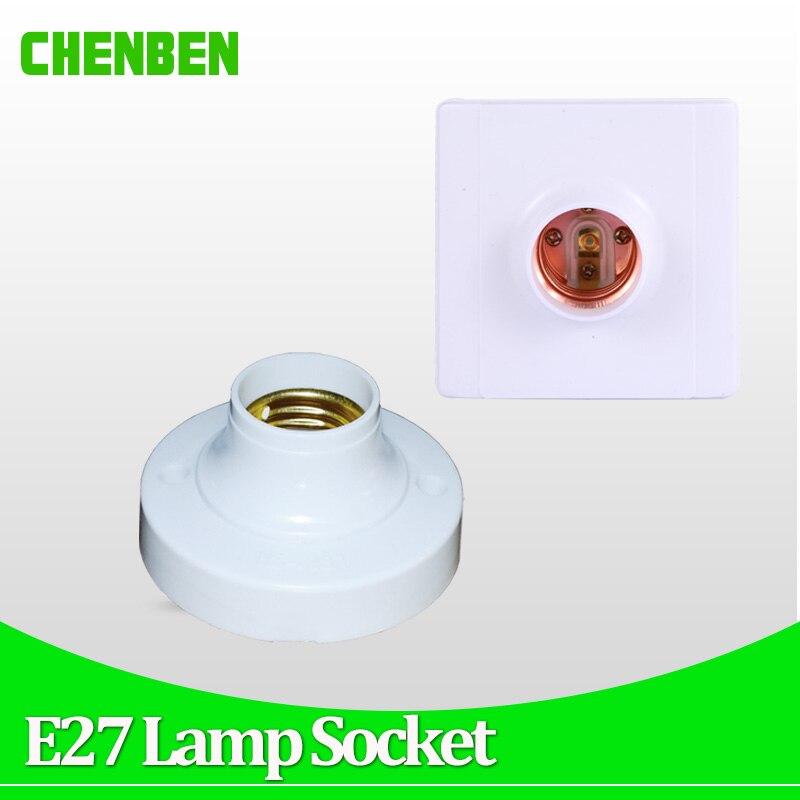 E27 Lamp Holder Square Round E27 Light Bulb Base Socket Bases White Lamp Holder For LED Bulbs Installation