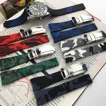 Влагостойкий ремешок для часов резиновый силиконовый ремешок для Rolexwatch Дайвинг Спорт Watchstrap Камуфляж для Submariner GMT браслет 20 мм