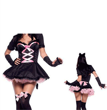 Lovely gril's hot sale cosplay cat costume with G-string M4298