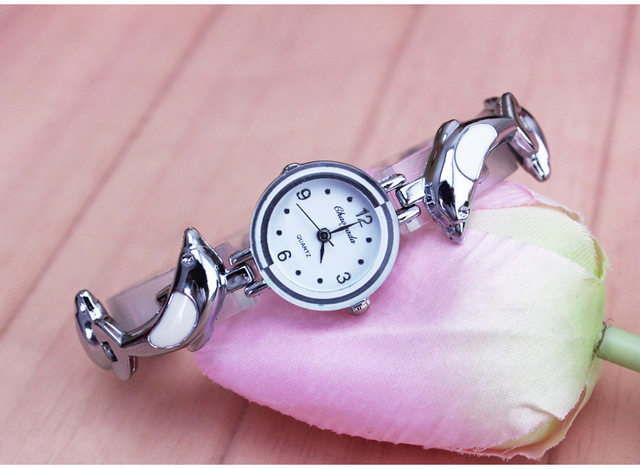 New 2016 personality Watch women round dial bronze dolphin stainless steel band quartz watch,bracelet watch free shipping