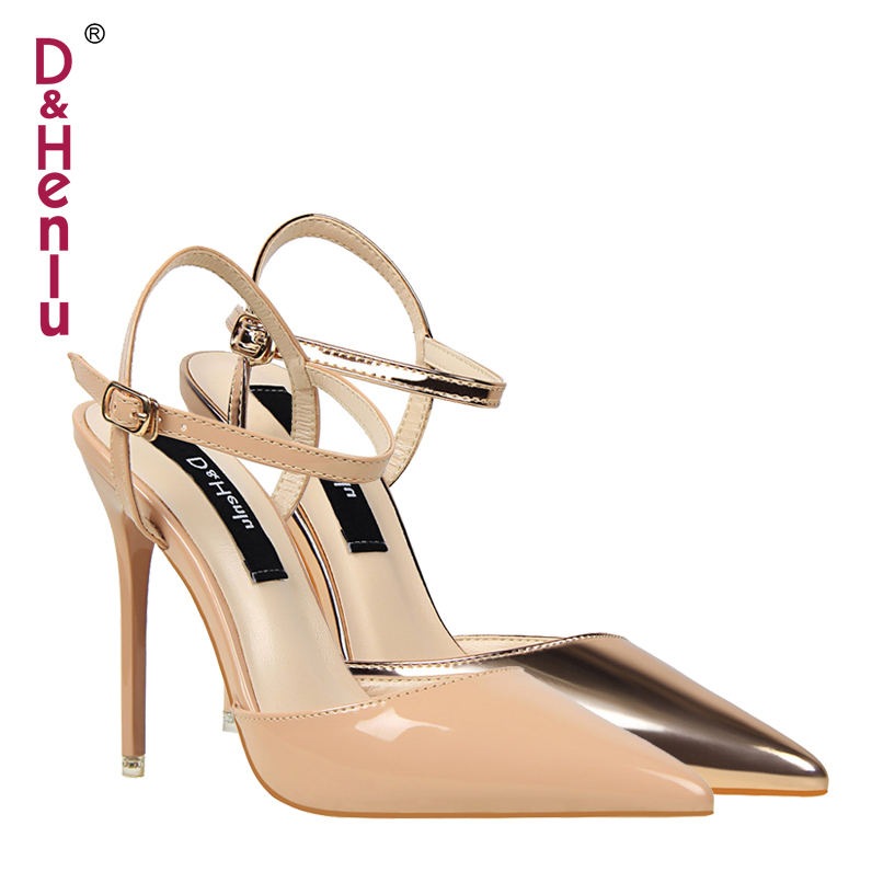 {D&Henlu} Wedding Shoes Party Shoes Women Pointed Toe Slingbacks Pumps Thin Heel Buckle Strap High Heels Pumps Sexy White Pump women s high heels women pumps sexy bride party square heel square toe rivets high heel shoes