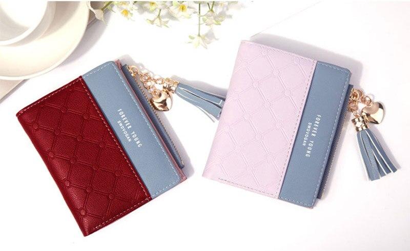 Leather Small Wallet Women Mini Women Wallets Purses Female Short Coin Zipper Purse Holder Tassel Zipper Button Bag (21)