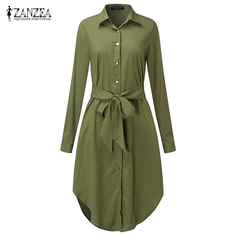 ZANZEA Women 2019 Solid Self Tie Curved Hem Long Sleeve Sweat Shirt Dress Plus Size Casual Loose Vintage Tee Vestidos Robe