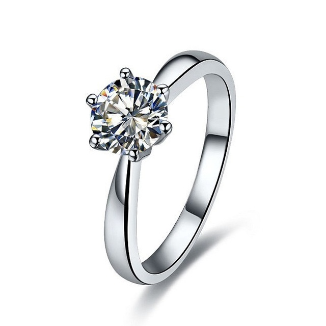 THREEMAN Solid 18k White Gold 2CT Six Prongs Diamond Female Engagement Ring  18K Gold Ring AU750 Gold Fine Jewelry Last Forever e52d03477c5a